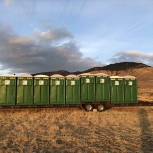 portable toilet trailer outside